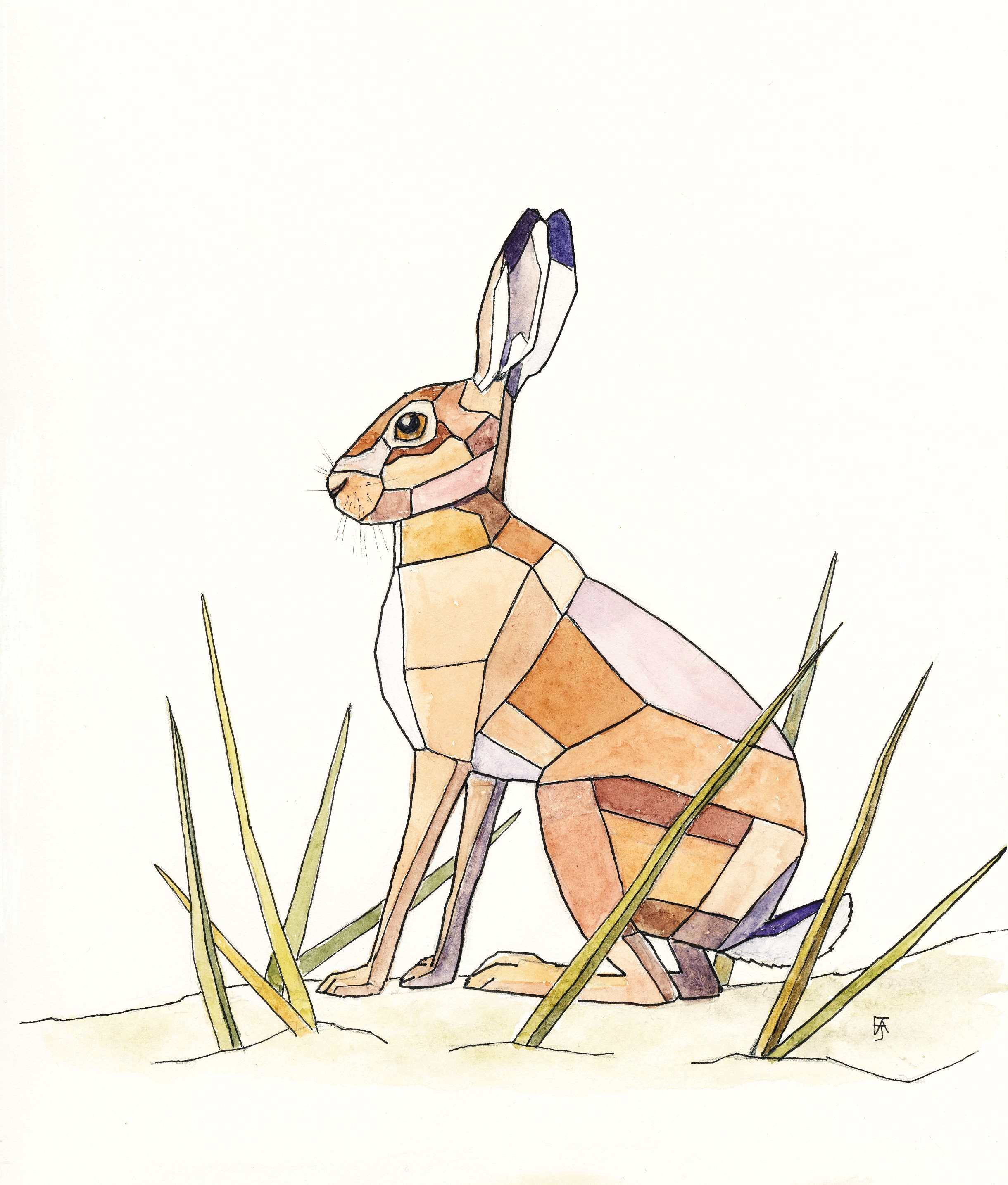 Stained glass hare F A Jackson