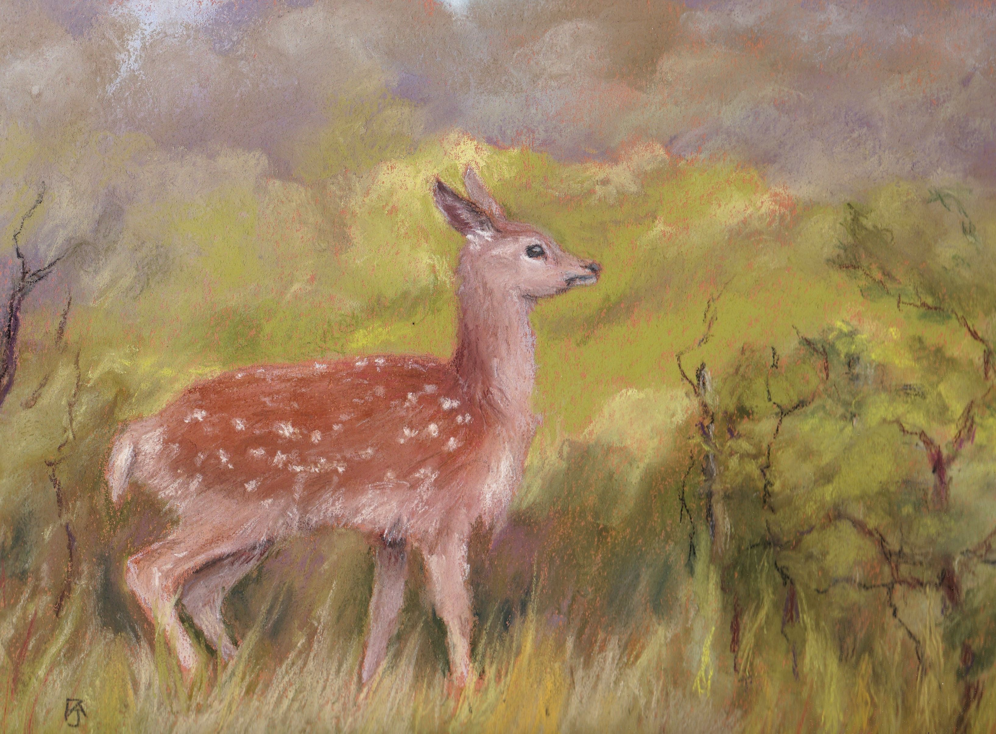 Fawn in the thicket pastel copy