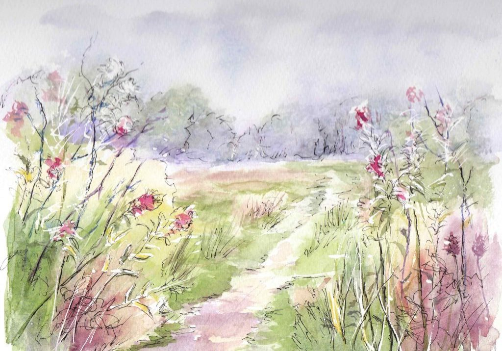 Footpath with willowherb F A Jackson